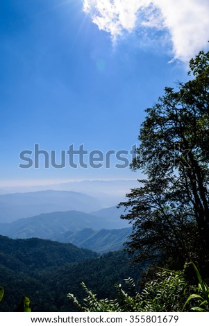 Blue sky on mountain vertical in thailand