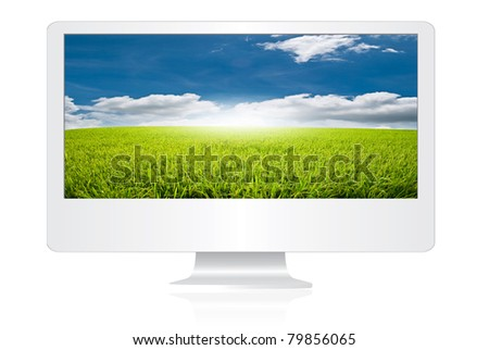 Blue sky on the monitor screen isolate. - stock photo