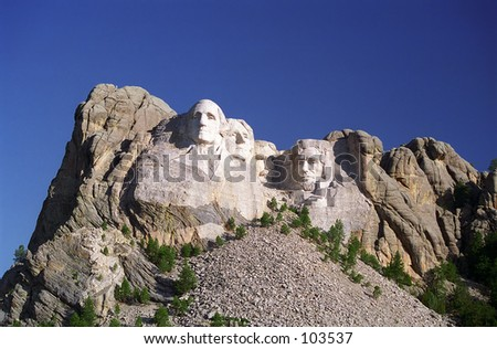 blue sky over Mount Rushmore