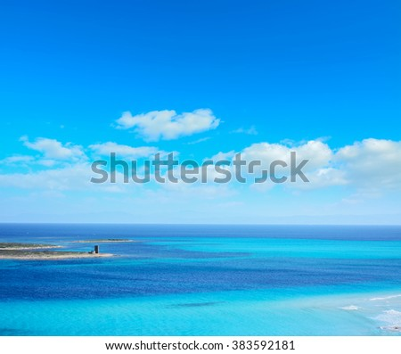 blue sky over Stintino sea in Sardinia, Italy - stock photo