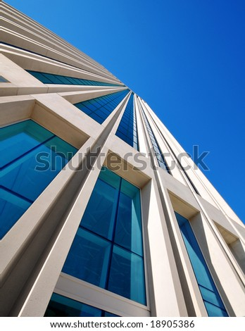 blue sky over the office building - stock photo