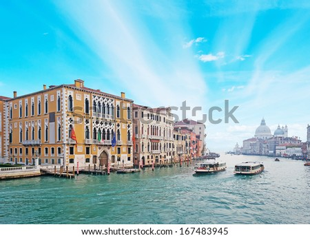 blue sky over Venice Grand Canal, Italy - stock photo