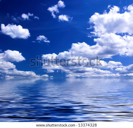 blue sky reflecting in lake