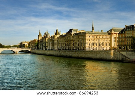 Blue sky, river Seine and palaces in Paris, France - stock photo