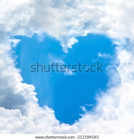 blue sky shape heart from cloud frame - stock photo