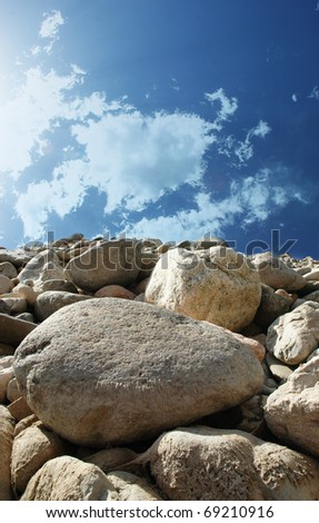 Blue sky,stone and white cloud/Blue sky and stone - stock photo