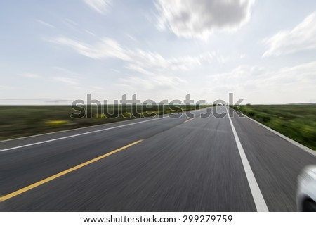 Blue sky straight road