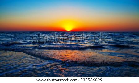 Blue sky,sun and sea - stock photo