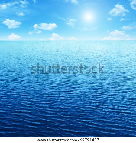 Blue sky,sun and sea. - stock photo