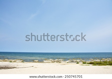 Blue Sky, Sunny Day, Beautiful Beach, Lake Malawi, Africa - stock photo