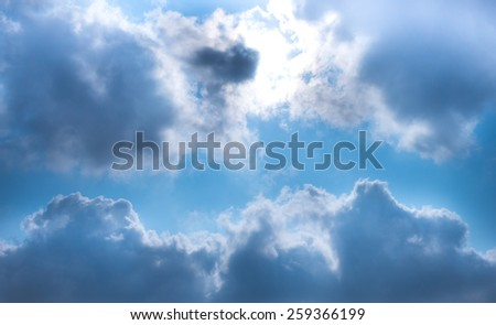 Blue sky , To feel sad, but not brilliant. - stock photo
