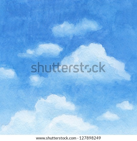 Blue sky. Watercolor background - stock photo