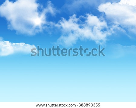 blue sky white clouds with bright sunlight background. Idea of heaven, natural, outdoor, vision, hope, space, climate, religion, peace, peaceful concept of template and wallpaper - stock photo
