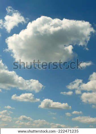 blue sky with beautiful clouds - stock photo