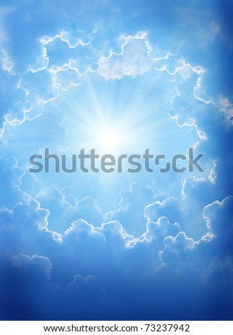 blue sky with beautiful clouds and sun. - stock photo