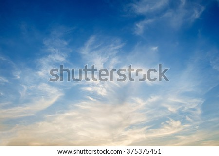 Blue sky with cloud at dusk - stock photo