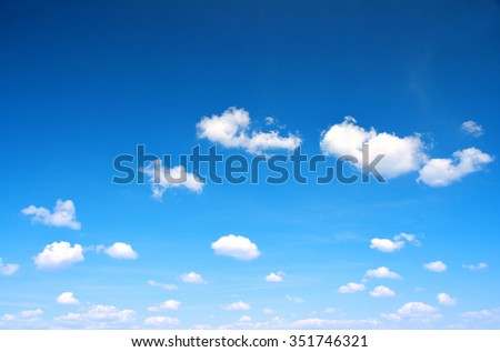 Blue sky with cloud closeup. Nature background. - stock photo