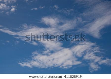 blue sky with cloud closeup ,sky in summer, sky background, sky clouds - stock photo