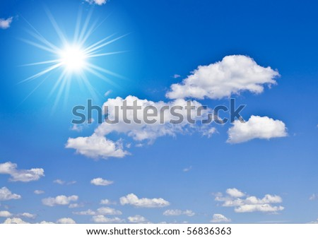 Blue sky with clouds and bright sun - stock photo