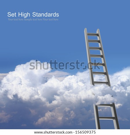 Blue sky with clouds and ladder, way to success concept - stock photo