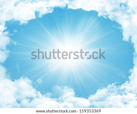 Blue sky with clouds and sun background - stock photo