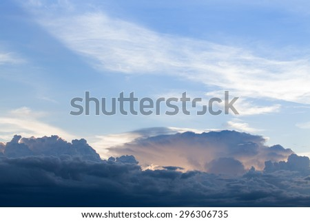 Blue sky with clouds and sun. Background - stock photo