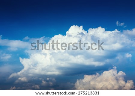 blue sky with clouds and sun cloudscape - stock photo