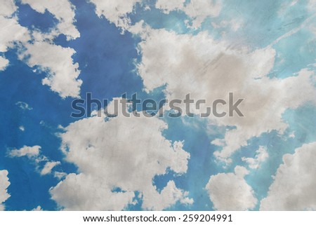 Blue sky with clouds and sun, Grunge style - stock photo