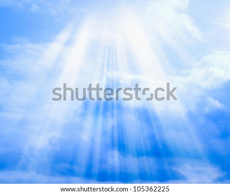 Blue sky with clouds and sun may be used as background - stock photo