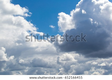 Blue sky with clouds, background, wallpaper.