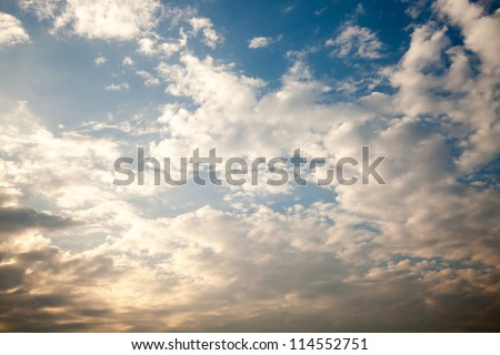 Blue sky with clouds for adv or background use - stock photo