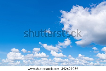 Blue sky with clouds nature for background. - stock photo