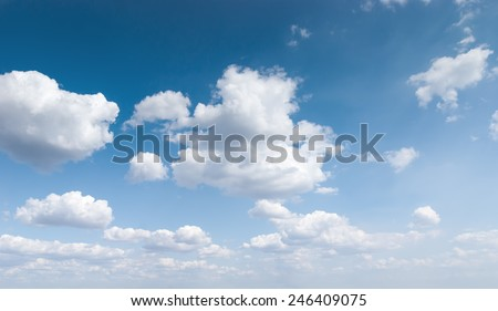 Blue sky with clouds on a Sunny day. Cirrus clouds. - stock photo