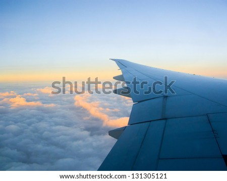 Blue Sky with Clouds-Pictures related to aviation and airplanes - stock photo