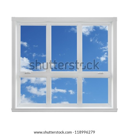 Blue sky with clouds seen through the window. - stock photo
