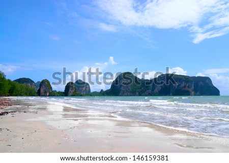blue sky with could on the Rajamangala beach, Trang, Thailand. - stock photo