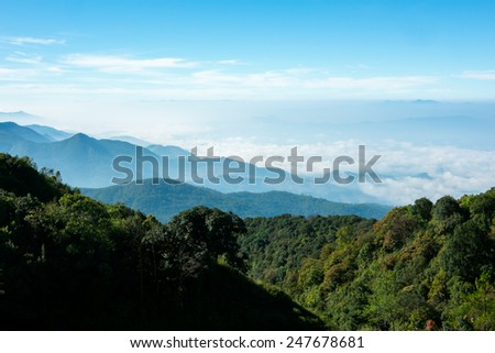 Blue sky with mountains at Doi Inthanon Chiang Mai, Thailand - stock photo