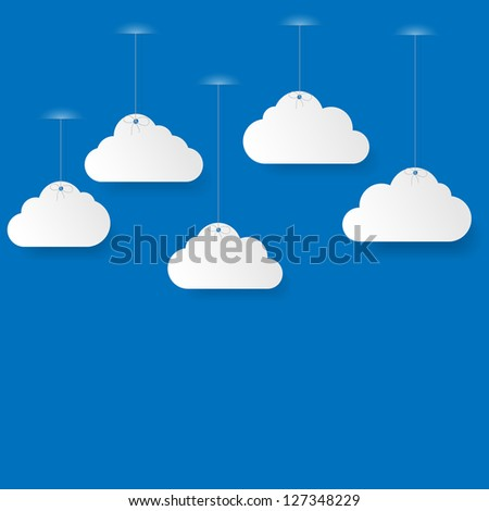 Blue sky with paper clouds. Illustration.