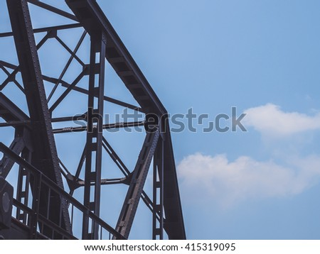 blue sky with railway bridge