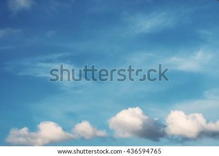 Blue sky with rainy clouds.sky background, skyscape  - stock photo