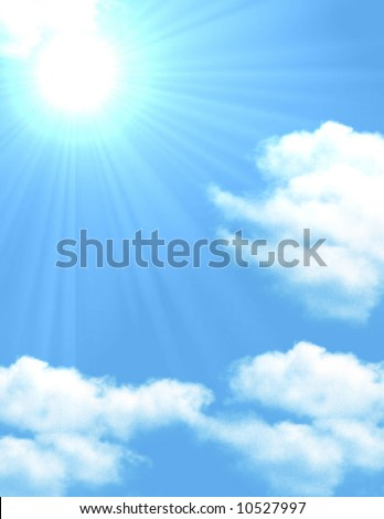 Blue sky with scattered clouds with a sun poking through casting sun rays over clouds - stock photo