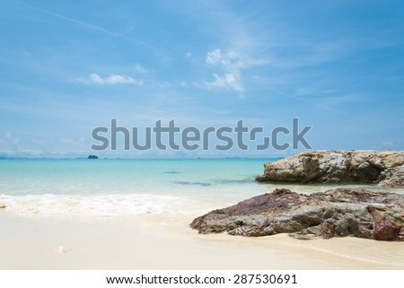 blue sky with sea and rock