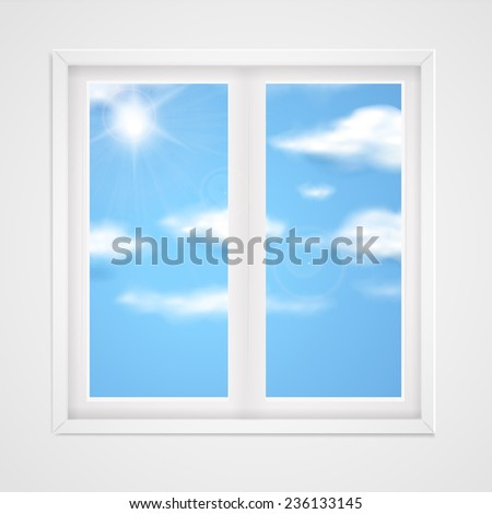 blue sky with shiny sun in the window