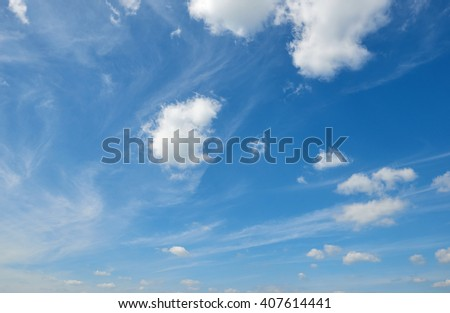 blue sky with soft cloud at day, clear background  - stock photo