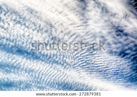Blue Sky with Stripes Clouds Texture with copy space, may use as background - stock photo