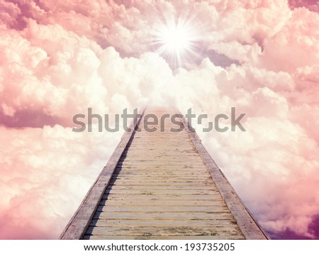 Blue sky with sun and beautiful clouds. Stairs in sky, the road to heaven. Purple toning - stock photo