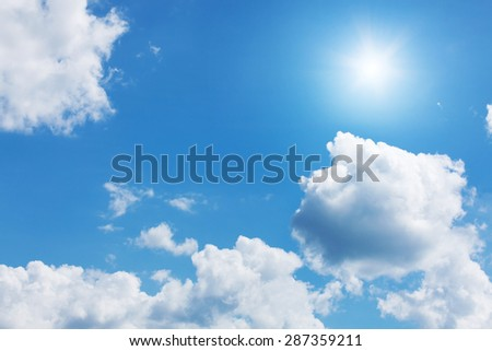 Blue sky with sunshine - stock photo