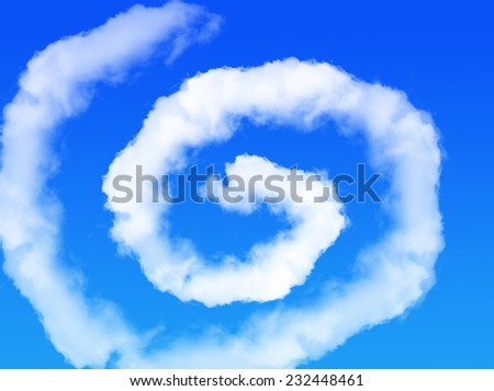 Blue sky with swirl cloud shape