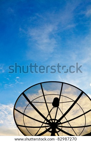 Blue sky with the Satellite dish on the Roof