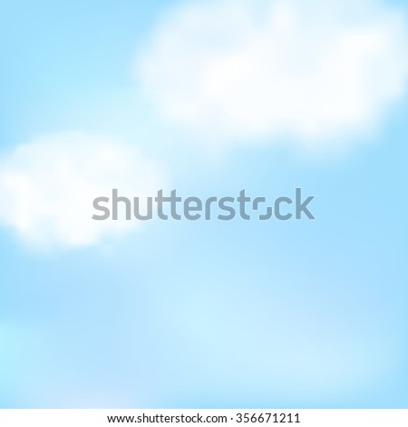 Blue sky with two white clouds.  Raster version - stock photo